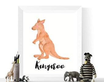 Kangaroo Art | Australian Animals | Kangaroo Watercolor Printable | Nursery Print | Watercolour Animal | Kangaroo Printable