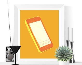 50% OFF Sale - Pop Art Smart Phone Art Printable | Yellow and Orange | Pop Art | Fun Art | Contemporary Art | Cell Phone | Mobile Phone