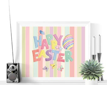 Happy Easter Egg Printable Decoration  | Easter Decor | Easter Decorations | Easter Prints | Stripes | Easter Printables | Colorful