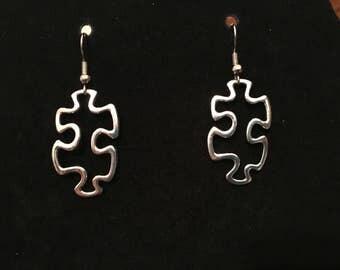 Silver puzzle piece earrings autism awareness teacher gift special education teacher OT PT