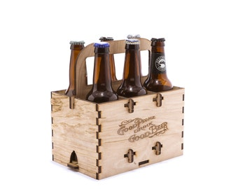 Six pack carrier etsy puzzle wooden six pack beer carrier with beer designs pronofoot35fo Gallery