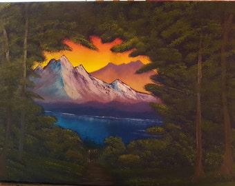 Mountain through the Trees 18X24 Oil Painting