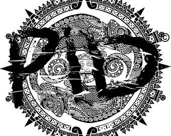 Tattoo, Ink, Design, Chameleon, Mayan Calendar, Digital, Vector, mandala tattoo, Illustration, Original