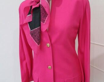 Hartnell Designer Vintage Ladies Hot Pink Jacket 1980's 1990's