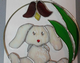 Stained Glass bunny and tulip