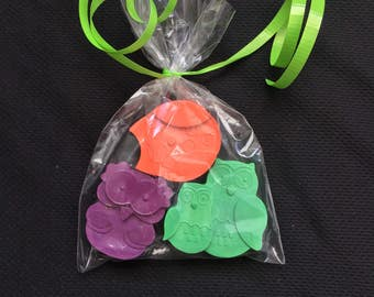Owl Crayons Party Favors (10 bags) - Owl birthday -