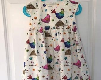 Hand Made Girls Chicken Print Dress