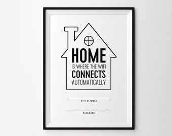 WIFI password printable poster / WIFI password sign - Home is where the WiFi connects automatically - minimalist WIFI password sign