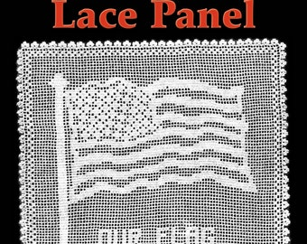 American Flag Lace Panel Filet Crochet Pattern
