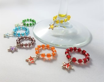 6 Mini Star Wine Glass Charms