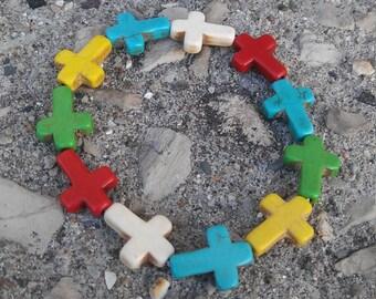 Multi Color Cross Bracelet