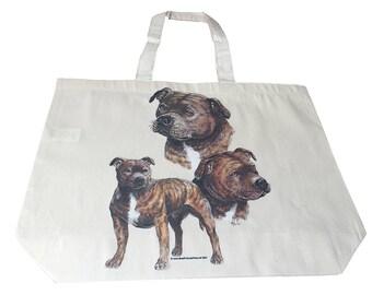 Staffy Staffordshire  Dog  Printed Bag  100% Cotton Tote  Shopper Bag For Life
