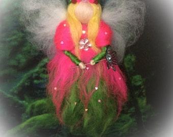 'Rosenrot' fairy tale wool felted felt pink green yellow flower fairy flower fairy fairy rose flower