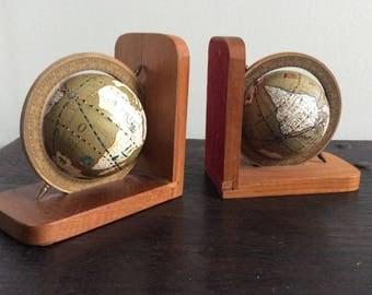 Vintage Mid Century Teak Globe Book Ends / World Map / Mad Men / Retro / Office
