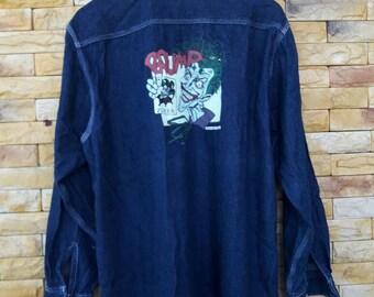 Vintage joker batman marvel button down jeans large size