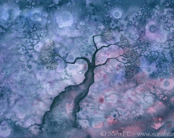 Egensinnig - ORIGINAL watercolour painting - psychadelic tree