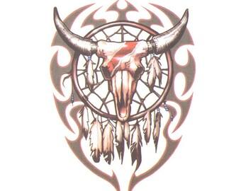 Tribal Skull Fake Tattoo
