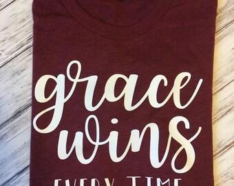 Grace Wins t-shirt-Christian t-shirt- Jesus Shirt-Comfortable T-shirt- Ladies inspirational shirt