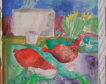 Painting. Spring Garden with Chickens.