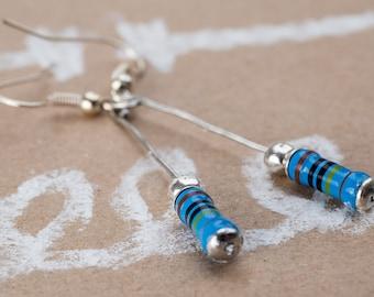 Earrings blue resistor