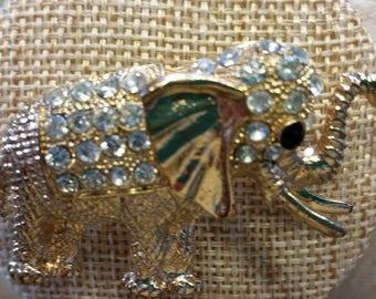 Gold tone Elephant with Rhinestones Unmarked