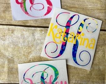 Monogram decal / Car decal / Lilly pulitzer decal / yeti cup decals / monogram decal / name decal / Lilly car sticker / vinyl monogram
