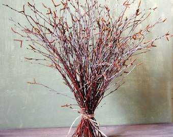 Birch branches with catkins, Rustic home decor, Rustic wedding decor, Witches broom, Magic altar cleansing, Pagan ritual, Sabbat broom