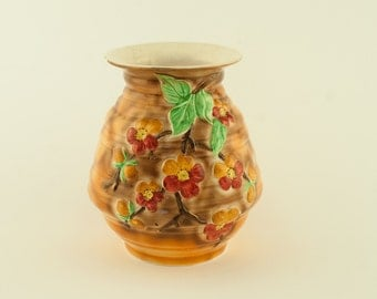 Longton Royal Art Pottery Highly Decorative Vase with Apple Blossom c 1946-1955