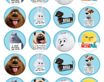BLUE Secret Life Of Pets Inspired Cupcake Toppers. Cupcake Edible Icing Print. 20 Cupcake Decorations