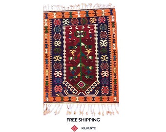 5x7 Orange Kilim Rug, Turkish Kilim Rug, Turkish Rug, Colorful Kilim Rug, Colorful Rug