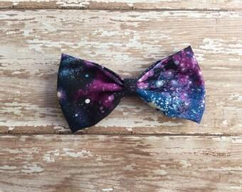 Galaxy cotton bow, hair bow, baby bow, baby headband, snap clip, elastic