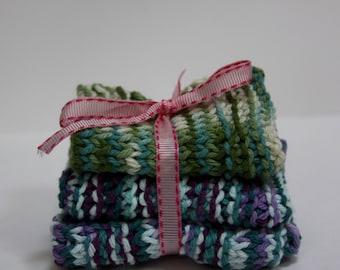 Knit Dish Cloths, Blue Multi/Green
