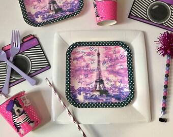 Paris Theme Party, Paris Party, Paris Plates