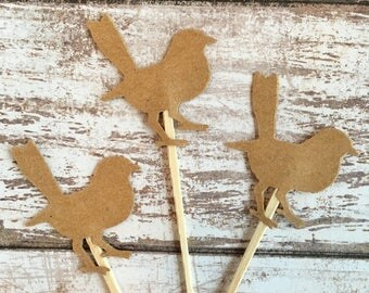Bird Cupcake Toppers - Kraft Brown - Birthday Party - Baby Shower - Bridal Shower - Food Picks - Woodland - 12 Pieces