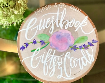 Customizable Handpainted Birch Wedding Guestbook/Gifts and Cards Sign