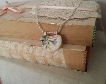 Broken china pendant with beads, silver bail and chain