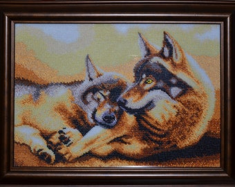 """Bead Embroidery Picture """"Wolves"""""""