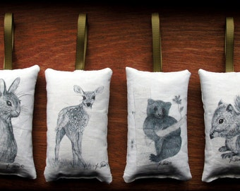Balsam filled sachets baby wildlife bunny, fawn, bear, squirrel with ribbon to hang, mini scented pillow for car freshener, closet, drawer.
