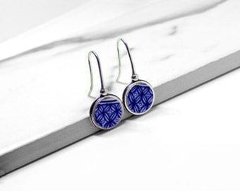 SEDA. Earrings made by antique porcelain and sterling silver