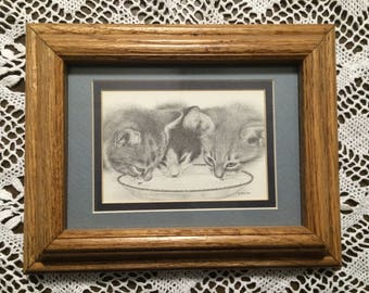 Vintage 70's art drawing print Cat Kitty Kittens Vintage Lapping Milk Framed Drawing By V. Miller