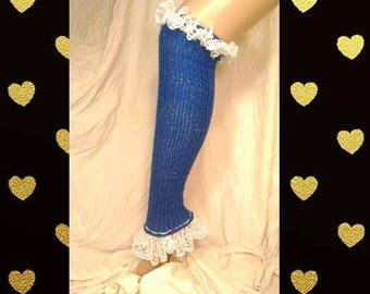 Chelsea Leg Warmers - Dance Leg Warmers - Woman's Leg Warmers - Knit - Crochet - Knee High – Blue Sparkle with White Frill