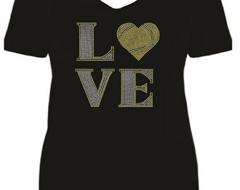 Rhinestone Love Tennis Short Sleeve V Neck T Shirt                                           A26F