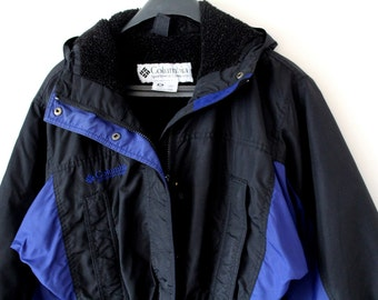 Vintage Columbia Jacket Columbia Ski Jacket Large Women's Columbia Sailing Jacket Black Blue  Hiking Jacket Rare Hooded Biking Windbreaker