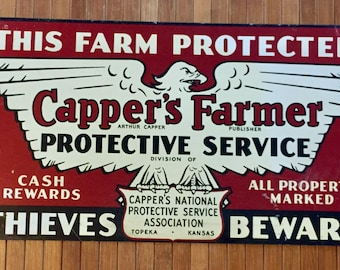 Antique 1940s Metal Sign - Capper's Farmer Farm Property Protection, Thieves Beware