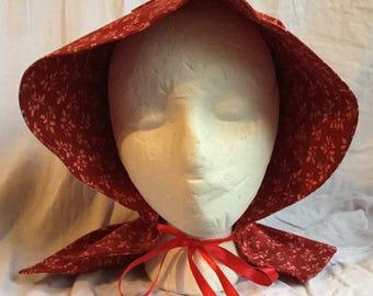 Red Floral Prairie Sun Bonnet