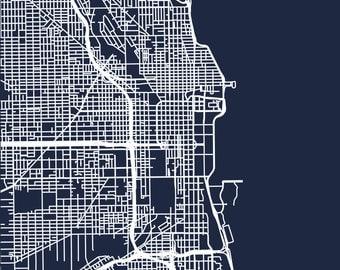 Minimalist Map of Chicago Roads - Digital Download - High Resolution