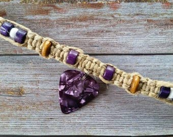 Hemp Necklace- Purple Guitar Pick