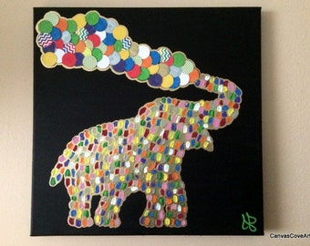 """Elephant & Balloons acrylic painting and cardstock paper mixed media art  12"""" x 12"""" canvas rainbow colors black background FREE SHIPPING"""