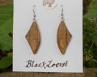 Black locust wood earrings/earthy earrings/sustainable earrings/natural earrings/crescent-shaped earrings