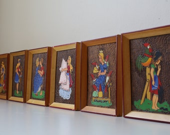 6 vintage images, set, pyrography, fiery images, fairy tale motifs, framed, wood pictures, Grimm fairy tales, nursery decoration, Princess